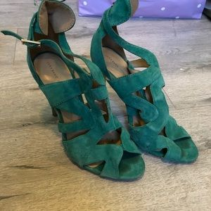 Zara suede green sandals sz 38